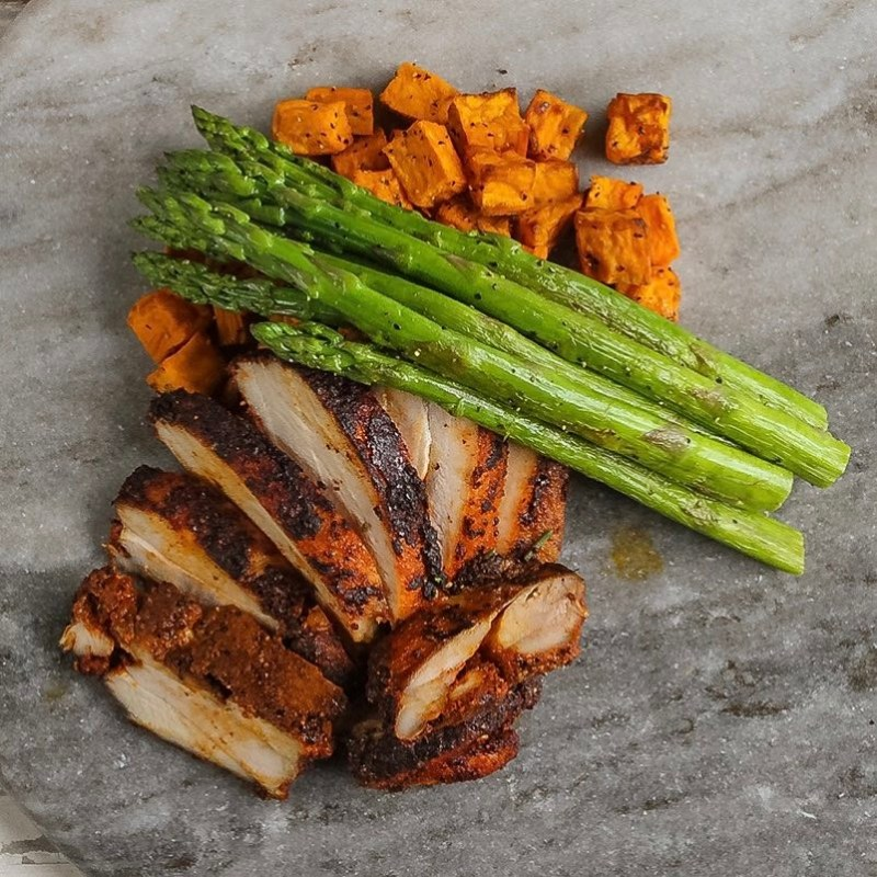 Paprika Crusted Chicken with Black Pepper Asparagus and Roasted Sweet Potatoes - Pete's Paleo - Certified Paleo - Paleo Foundation