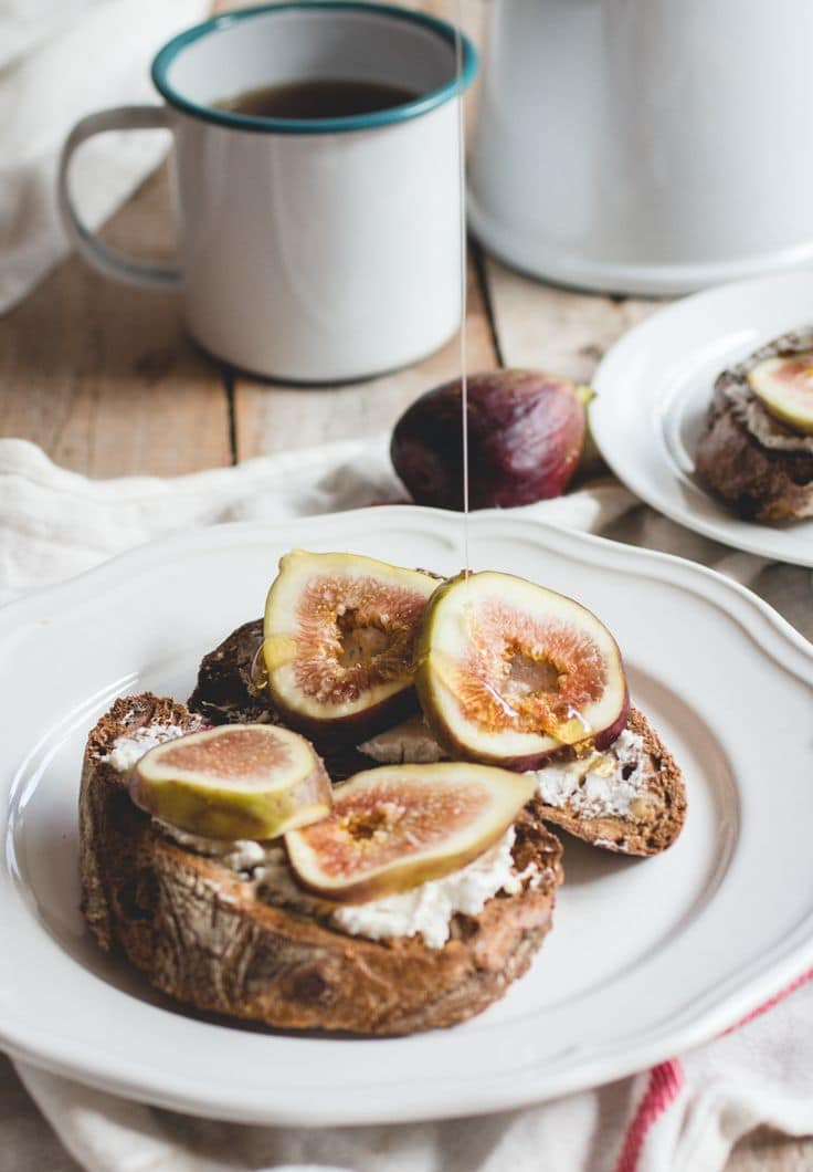 Caramelized Fig Toast with Coconut Yogurt and coffee