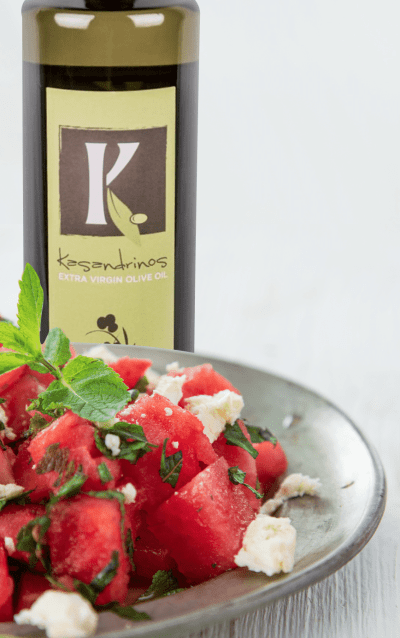 Watermelon Mint and Feta Salad featuring Kasandrinos Extra Virgin Olive Oil