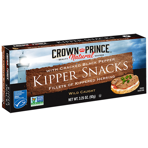 Natural Kipper Snacks with Cracked Black Pepper - Crown Prince Seafood - Certified Paleo - Paleo Foundation