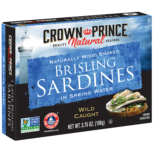 Natural One Layer Brisling Sardines in Spring Water - Crown Prince Seafood - Certified Paleo - Paleo Foundation