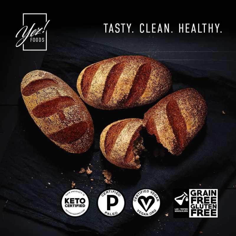 Keto Bread Loafs w: Logos - Yez! Foods - Certified Paleo, Paleo Vegan, KETO Certified - Paleo Foundation
