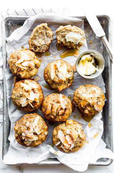 Toasted Coconut Paleo Banana Bread Muffins