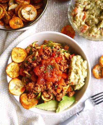 Paleo Ground Turkey Taco Zoodles