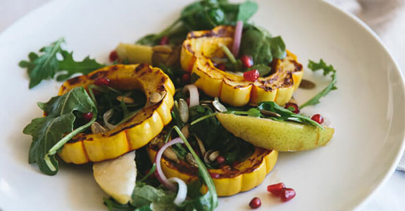 Roasted Delicata Squash, Pear, and Pomegranate Salad