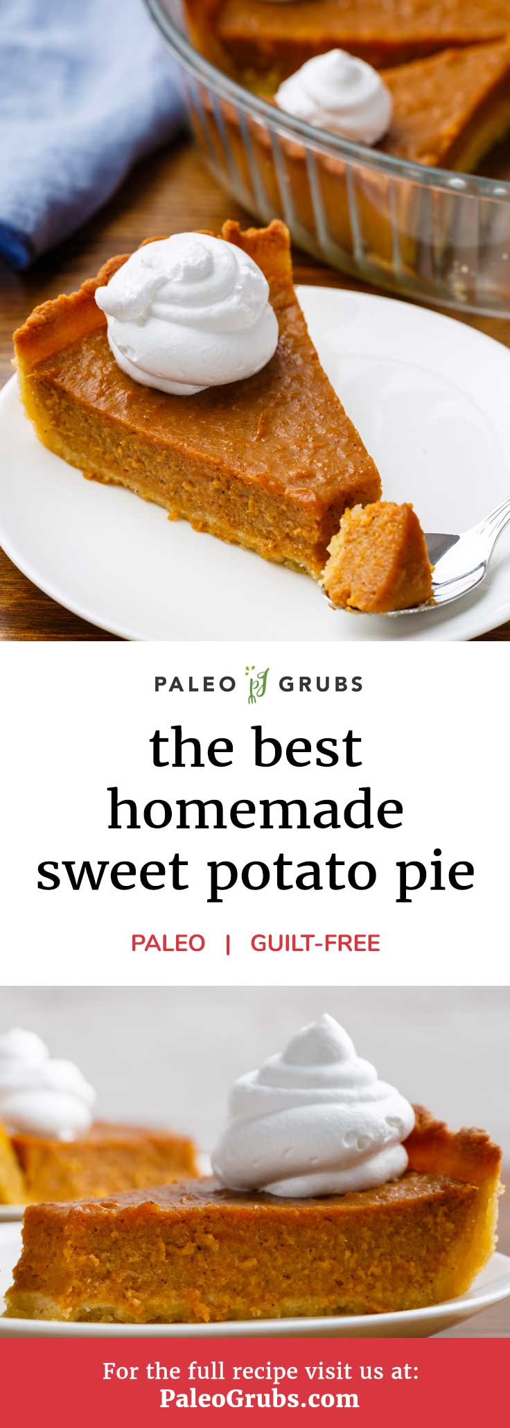 Who needs apple pie or pecan pie when you can enjoy an unbelievably tasty homemade sweet potato pie? This recipe is right on time for the holiday season and makes one mean pie for dessert. It's got it all - an exceptionally tasty pie crust, a deliciously sweet and spicy filling, and it's all topped with some yummy whipped coconut cream. It all adds up to an incredible gluten and grain-free pie that's 100% paleo-friendly that you can enjoy absolutely guilt-free.