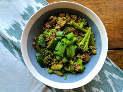 Zucchini and Broccoli Ground Beef Stir Fry