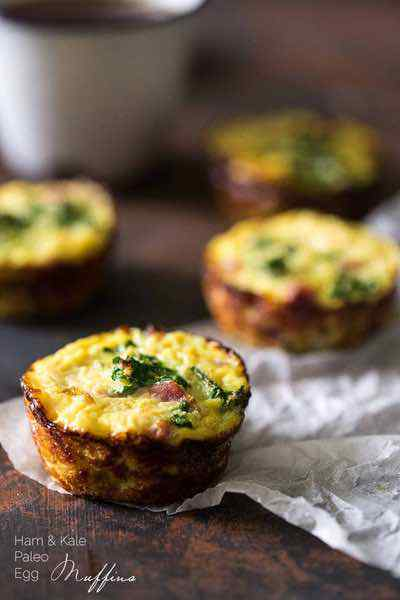 Egg Muffins with Ham, Kale and Cauliflower Rice