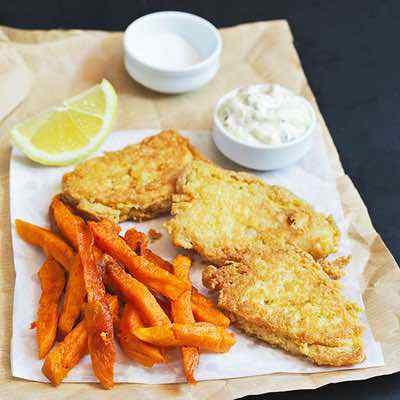 Fish and Chips with Sweet Potato Fries