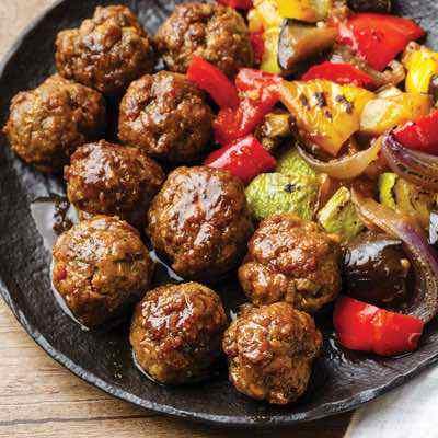 Teriyaki Meatballs with Roasted Japanese Vegetables