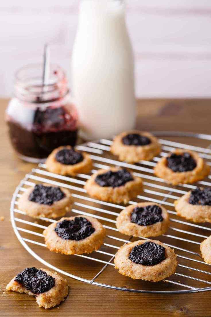 Blueberry Jam Thumbprint Cookies