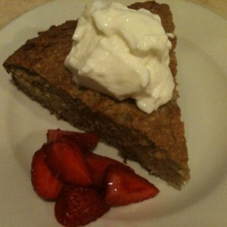 Banana cake, yogurt and strawberries