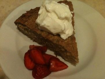 Banana cake, yogurt and strawberries