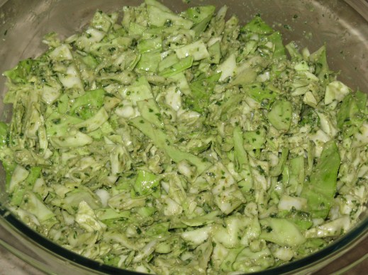 Creamy basil pesto coleslaw.