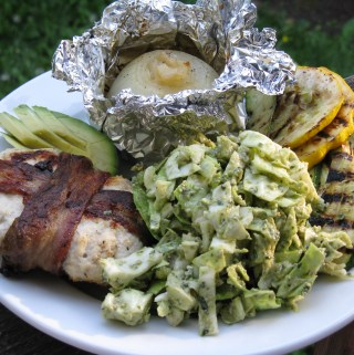 Turkey bacon burger, pesto coleslaw, grilled summer squashes, avocado and grilled sweet onion.