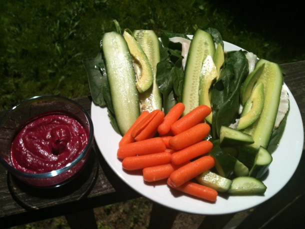Large spinach leaves wrapped with Applegate Naturals freshly-sliced oven roasted turkey breast, avocado and cucumber slices, and carrots with homemade beet dip.