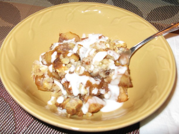 My bowl of apple crumble with coconut butter drizzle.