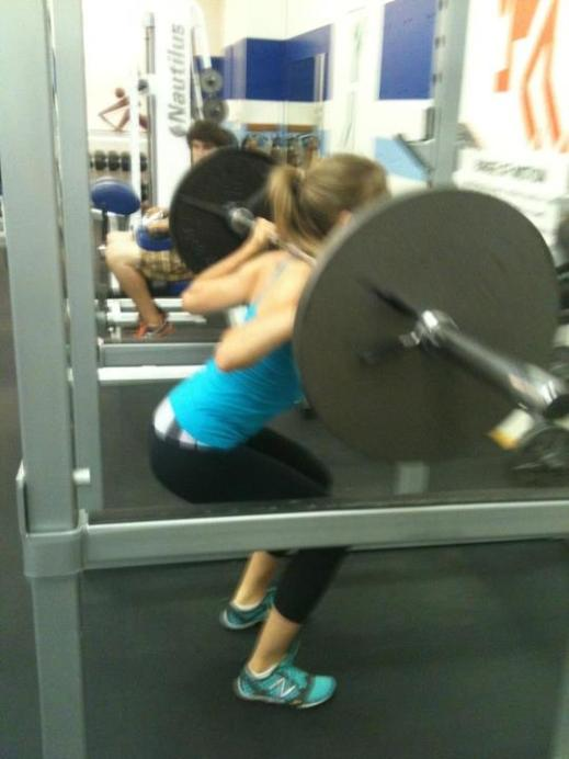 Back squatting (135 lb) on the last day of my weight training class in early August of this year. 10 months in on the SCD.