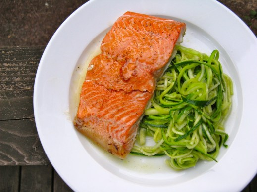 Honey-lime glazed salmon with zucchini noodles