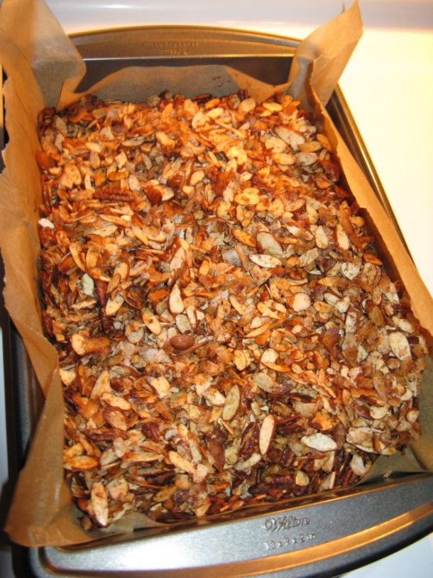Grain-free granola, fresh out of the oven. I added a little pecans too since I had a package open.