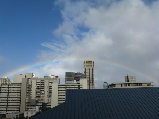 Look at that full, beautiful rainbow! I saw a rainbow nearly everyday on our trip.