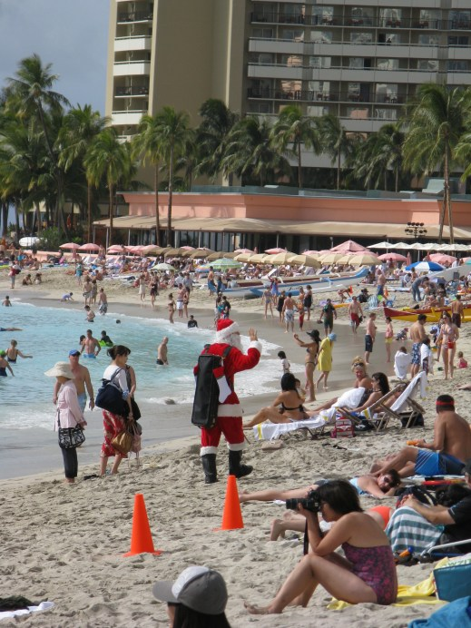 Look, it's Santa on the beach! I still don't know how he was wearing that suit out in the sun.