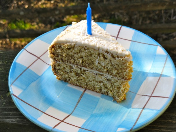 Coconut cake with lemon coconut frosting.
