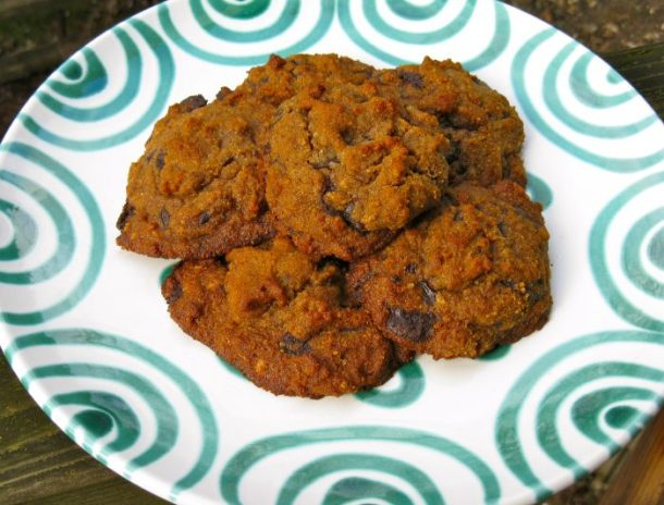 Chocolate chip cookies with homemade chocolate chips.