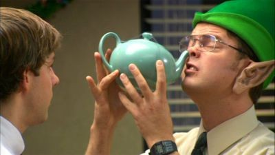 Dwight attempts to neti with a tea pot in an episode of The Office. Make sure you use an actual neti pot when you do this! (Photo credit: gobblegreen.com)