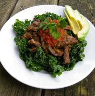 Taco Kale Salad with Skirt Steak