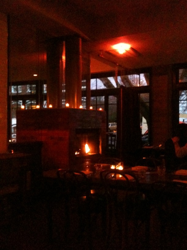 Dim lighting, a cozy fire and European-esque windows. The atmosphere here is one of my favorite things about this place.