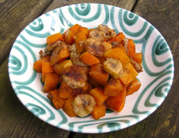 Baked bananas and butternut squash.