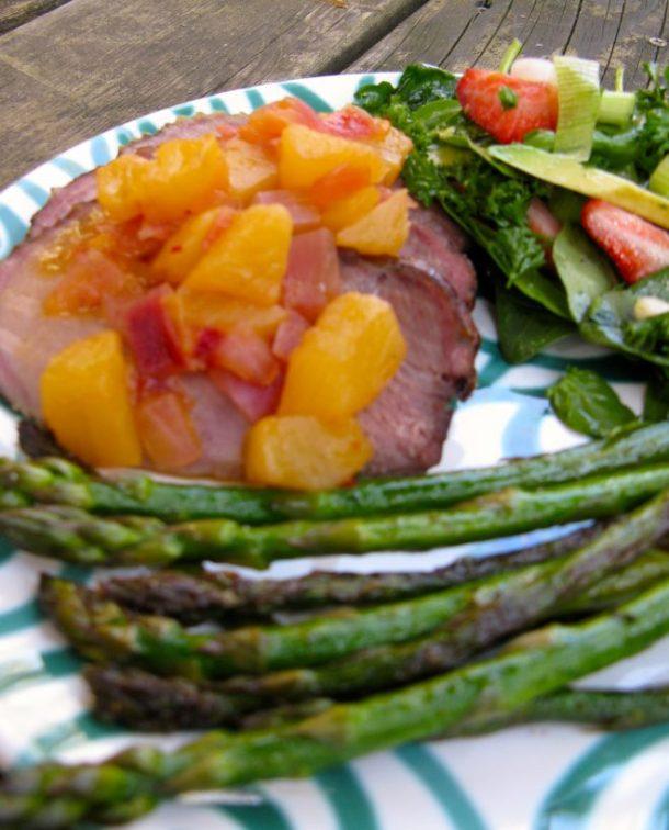 Glazed ham with chutney, spinach salad and caramelized asparagus.