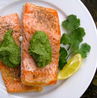 Salmon with Parsley Pesto Cream Sauce