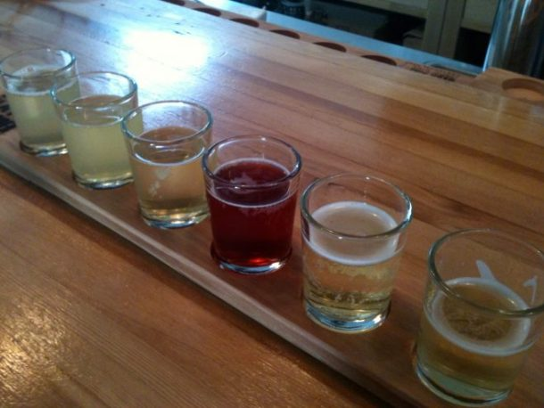 Reverand Nat's Hard Cider, a local cider company, just opened a tasting room/bar a few blocks away from our house. We walked there Saturday before dinner and shared this sampler platter. All of their ciders are dry, which is right up my alley. I liked most of these with the exception of the second from the left. It was an heirloom cider that tasted smokey and odd. I ended up ordering a glass of the Newton Pippin, the last glass on the right. The seasonal hybiscus (red one) was really nice too.