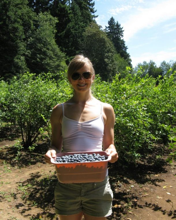 Hot and sweaty, but got my tub full of berries!