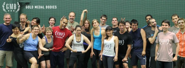 A silly group shot at the Gold Medal Bodies seminar. It was the end of the day, so we were pretty wiped out. (Photo credit: Gold Medal Bodies).