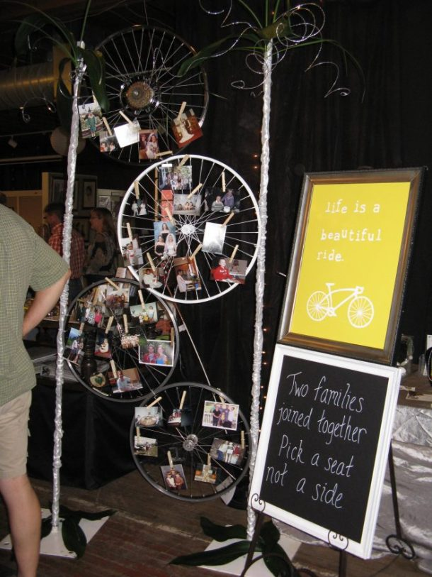 Some more decor. The bike spokes had various photos of Jesse and me, along with wedding pictures of our parents.