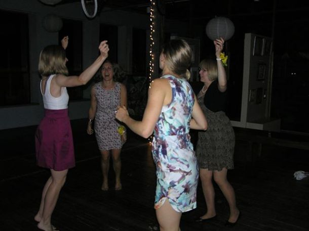Dancing with my mom and sisters to Neil Diamond's, Sweet Caroline. It was dedicated to grandma and we know she was dancing with us.