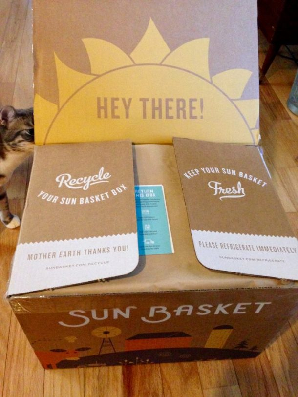 My kitty, Frankie, was curious about the Sun Basket box.