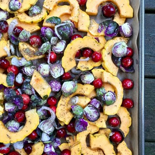 Roasted Brussels Sprouts, Delicata Squash & Cranberries