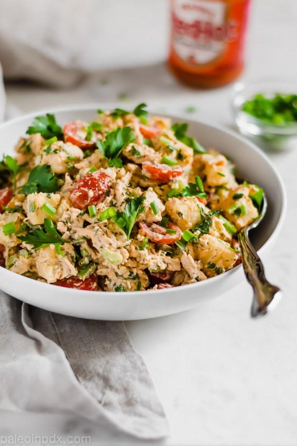 Dairy-free buffalo chicken potato salad