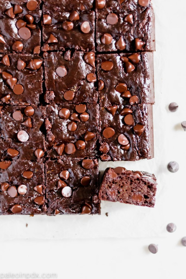 Double chocolate flourless zucchini brownies