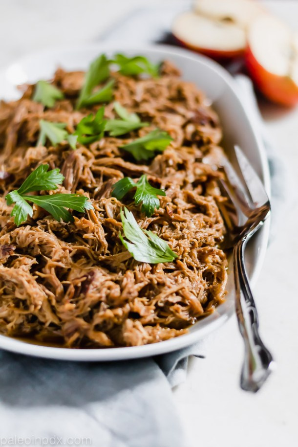 Slow cooker spiced apple cider pulled pork
