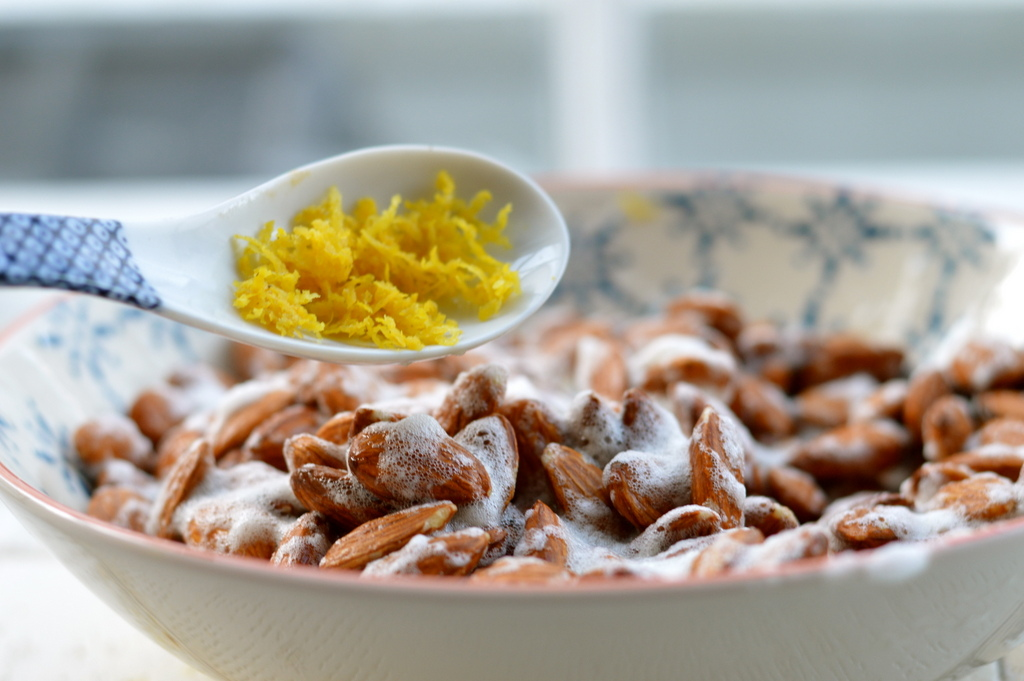 roasted lemon and chili almonds