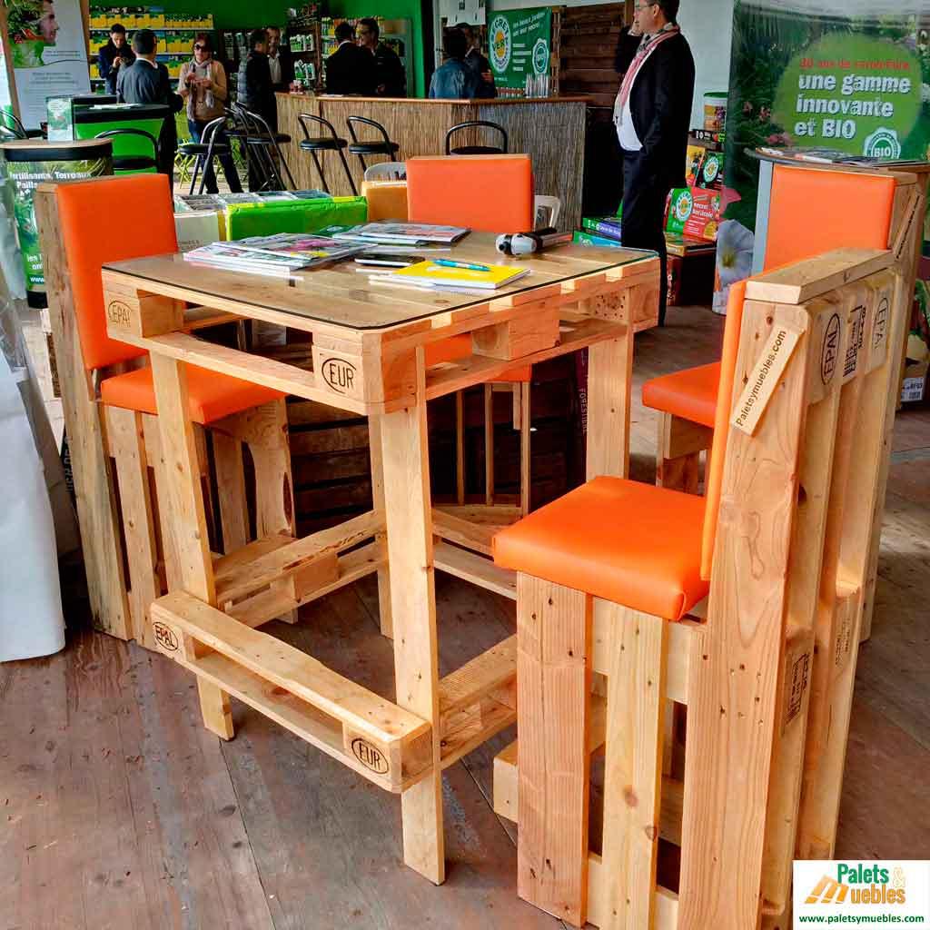 Mesa y sillas con palets palets y muebles - Mesas de palets para jardin ...