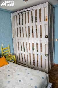 dormitorio con palets, armario blanco palets y muebles