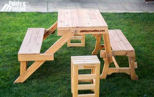 Banco mesa plegable con palets palets y muebles for Como hacer mesa de trabajo con palets