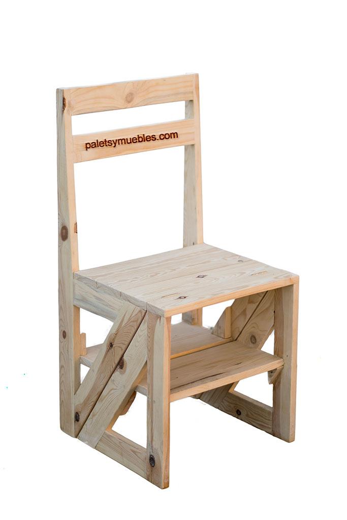 Silla escalera convertible palets y muebles for Silla escalera plegable planos