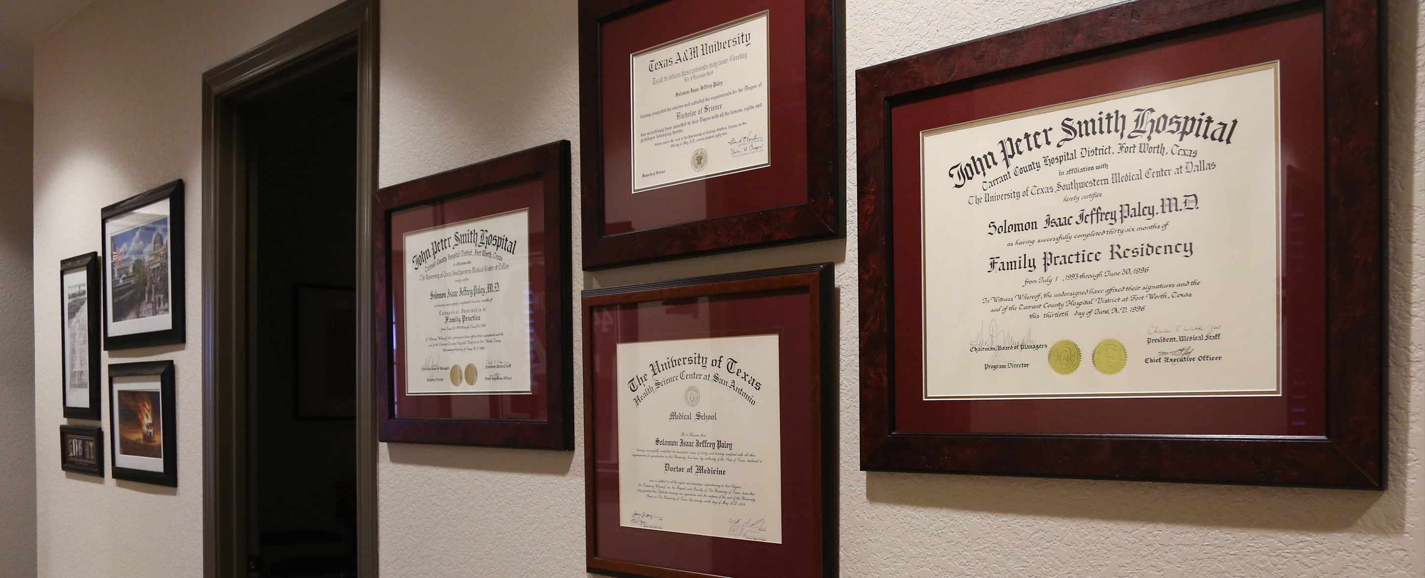 practice hallway with certificates on wall